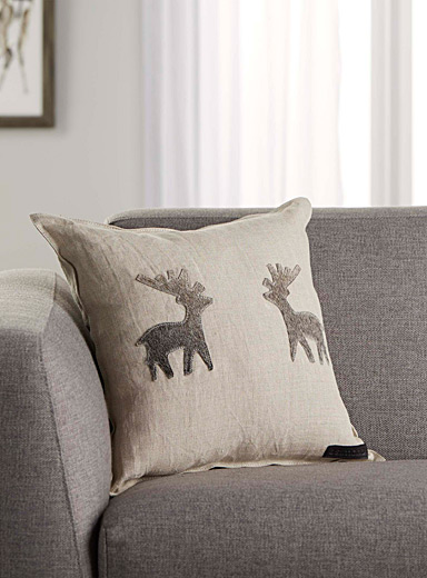 Dueling deer pure linen cushion  45 cm x 45 cm