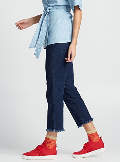Fringed denim jegging