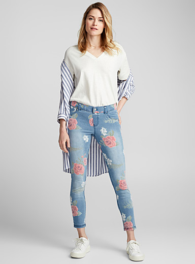 Hue Blue Romantic rose jegging for women