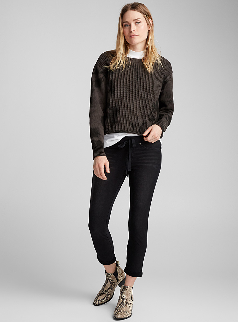 Hue Black Bouclé terry-lined jegging for women