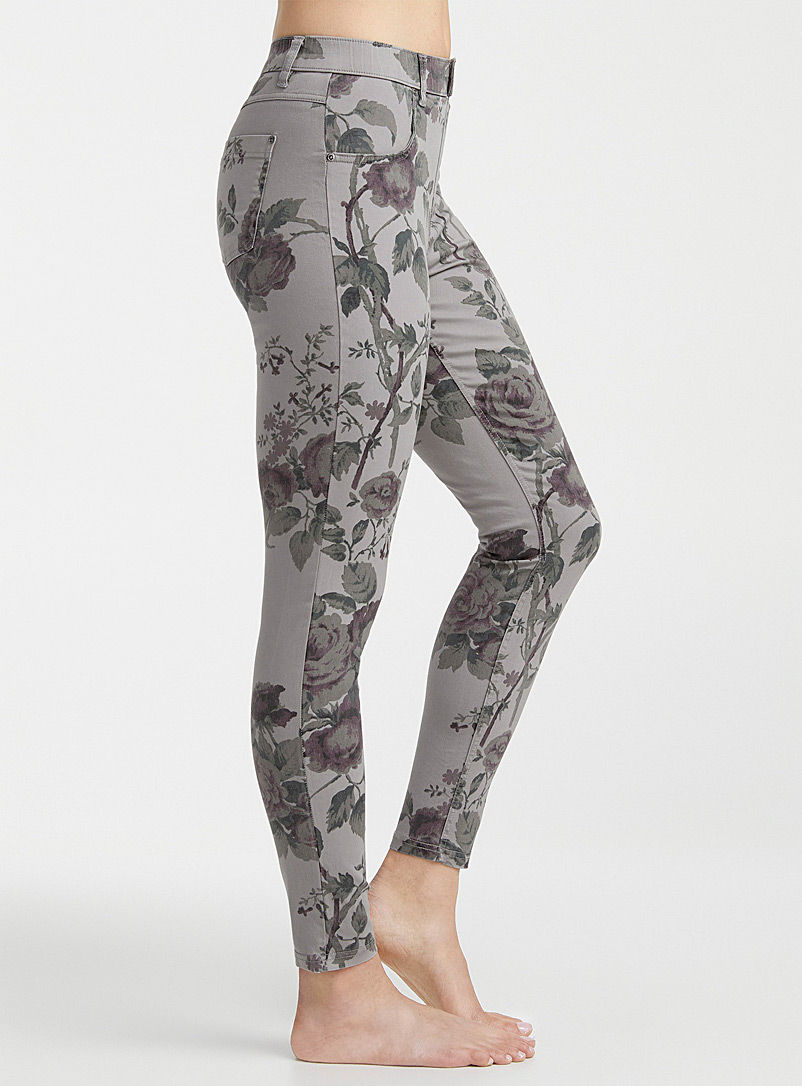 Hue Assorted grey Floral jegging for women