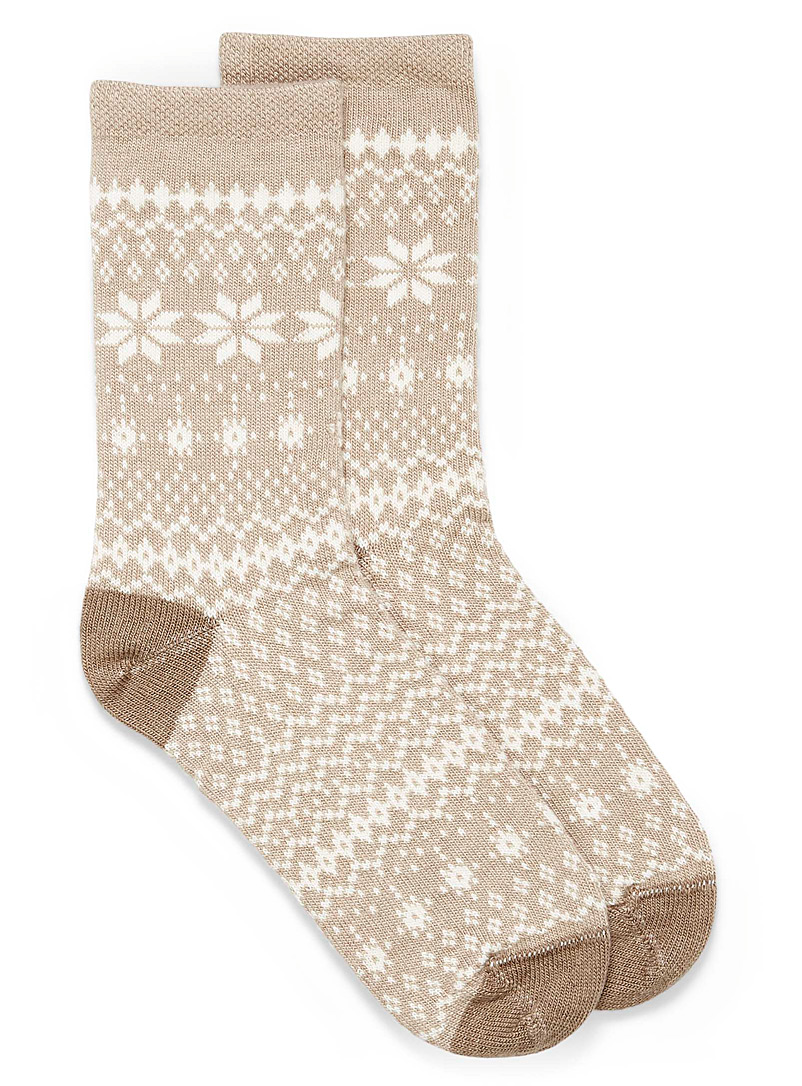 Hue Cream Beige Jacquard snowflake knit socks for women