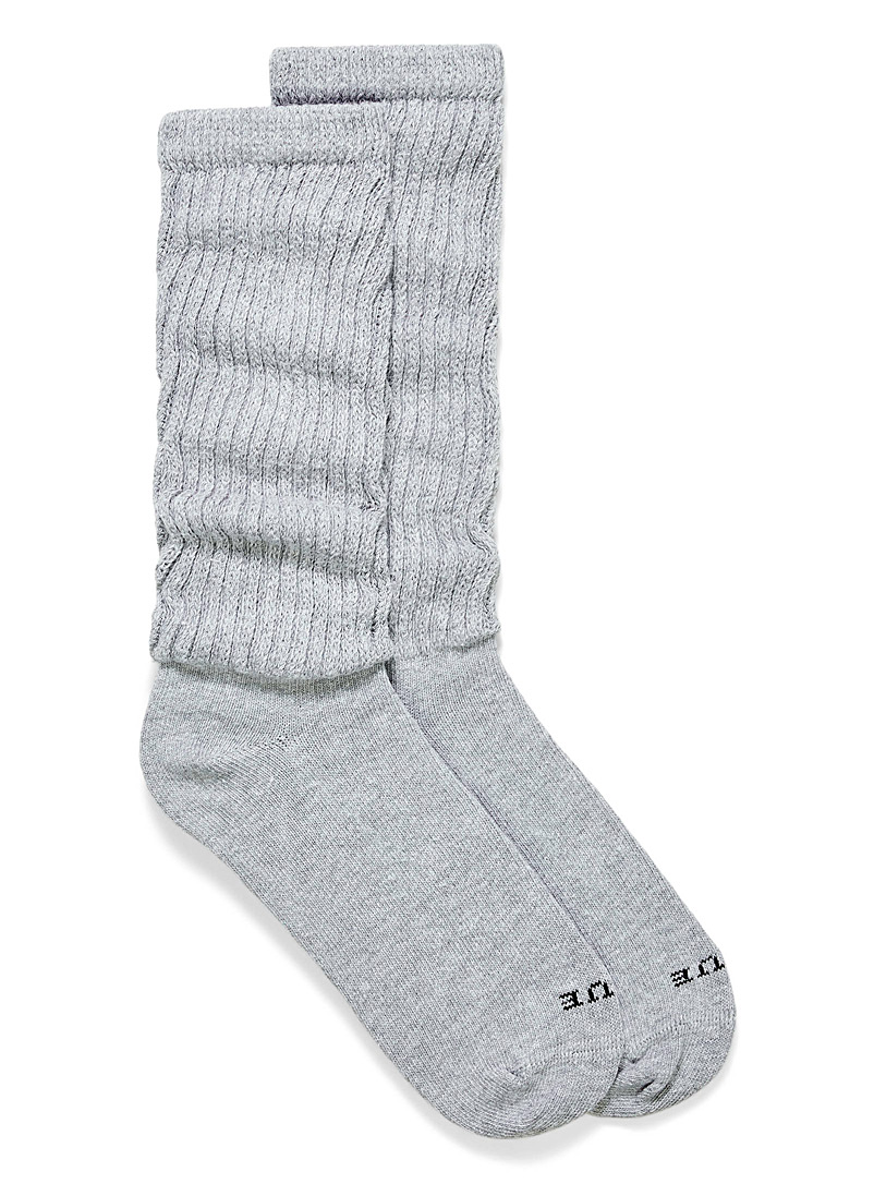 Hue Light Grey Slouchy cotton socks for women