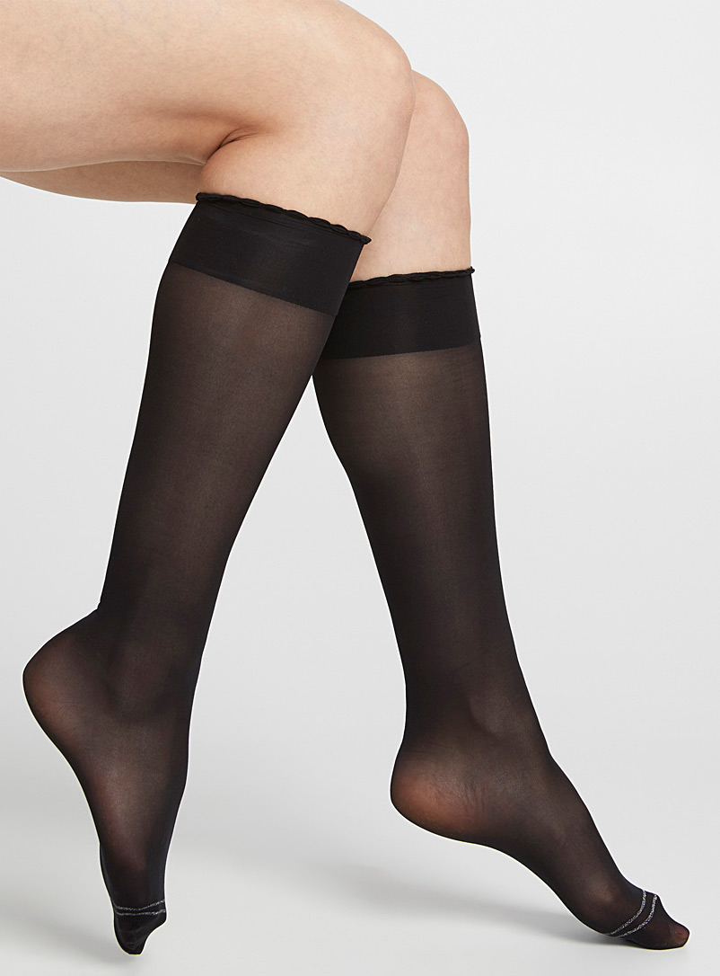 Scalloped compression socks - Knee-Highs - Black