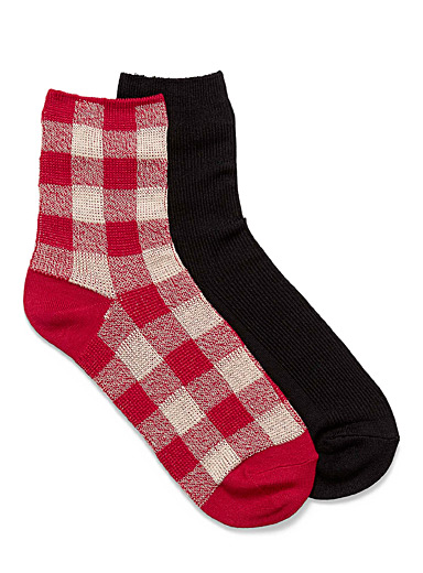 Check and solid ankle socks <br>Set of 2