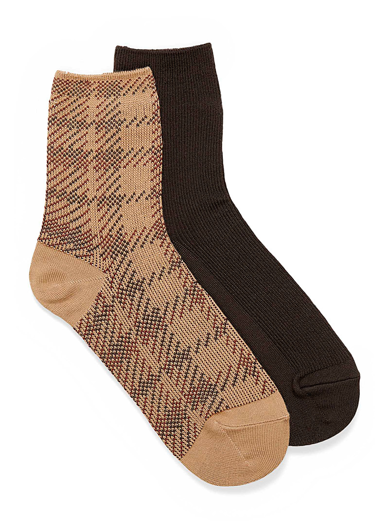 Hue Assorted brown Solid and check socks  Set of 2 for women