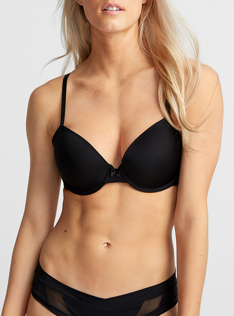 Swiss dot back Diva full coverage bra - T-Shirt - Black