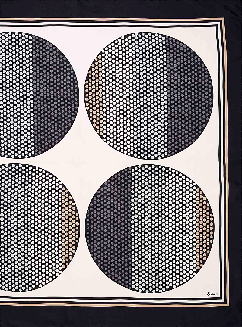 Echo Design Patterned Black Dots on dots silk scarf for women