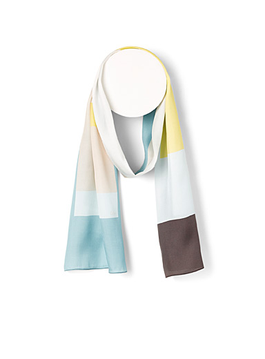 Colour block silk scarf