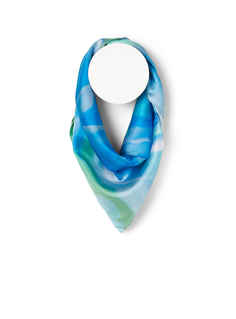 Echo Design Patterned Blue Floral zoom silk scarf for women