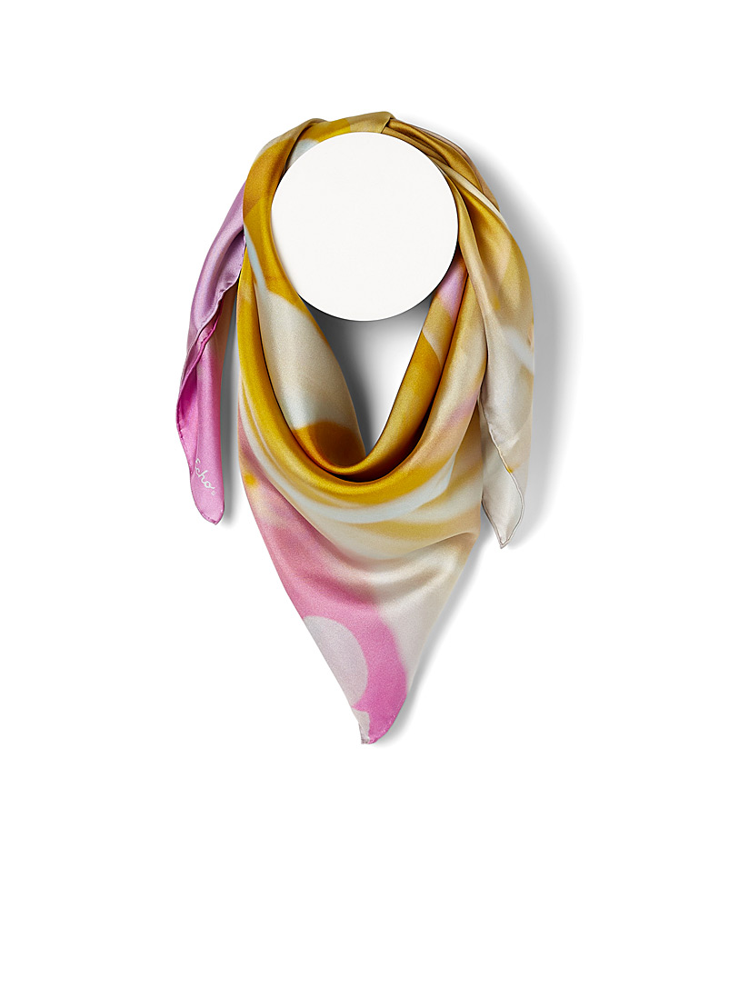 Echo Design Patterned Yellow Floral zoom silk scarf for women