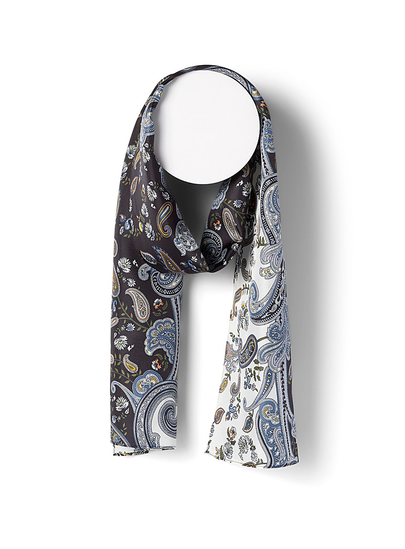 Echo Design Patterned Black Two-tone paisley silk scarf for women