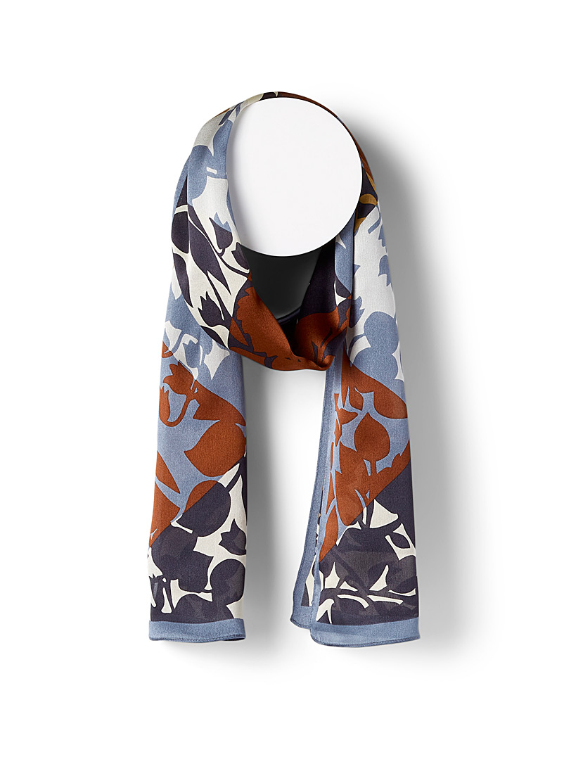 Echo Design Patterned Black Floral silhouette silk scarf for women