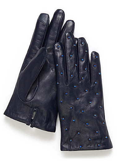 Shimmery stone leather gloves