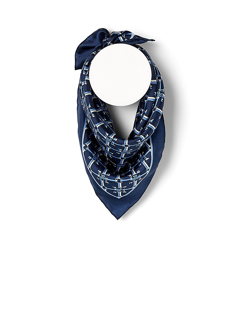 Lauren par Ralph Lauren Patterned Blue Monogram silk scarf for women