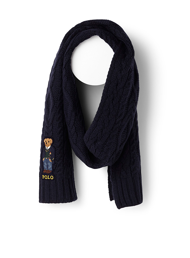 Teddy bear cable knit scarf - Outdoor scarves - Marine Blue