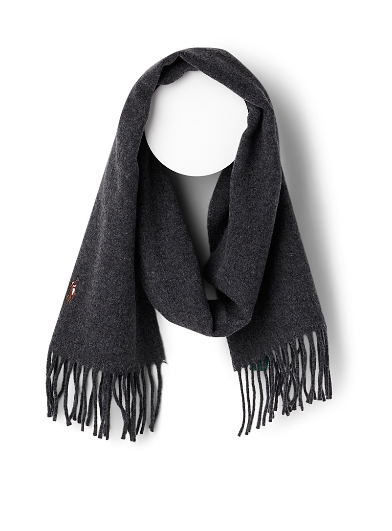 Polo player wool scarf - Outdoor scarves - Charcoal