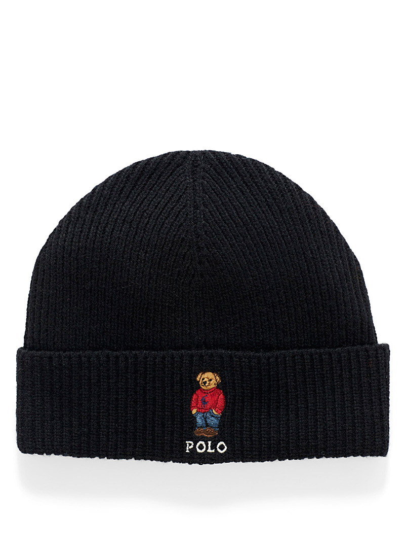 Stylish teddy bear ribbed tuque - Tuques - Black