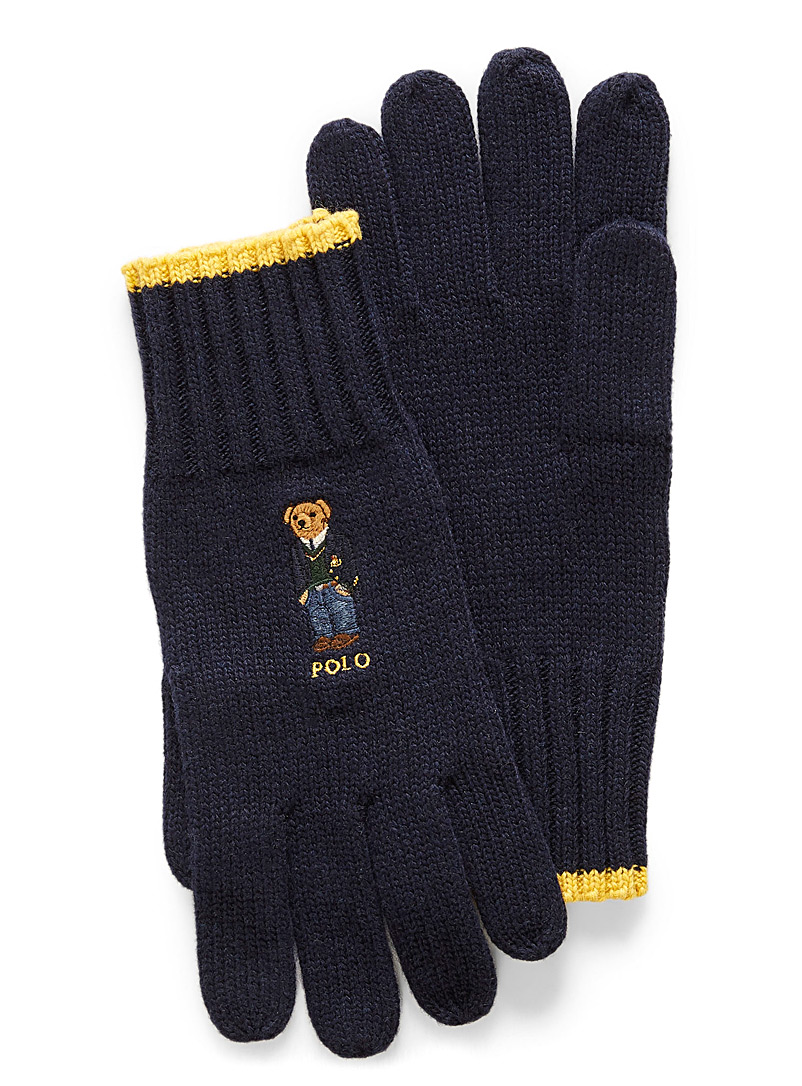 Embroidered teddy bear gloves - Gloves - Marine Blue