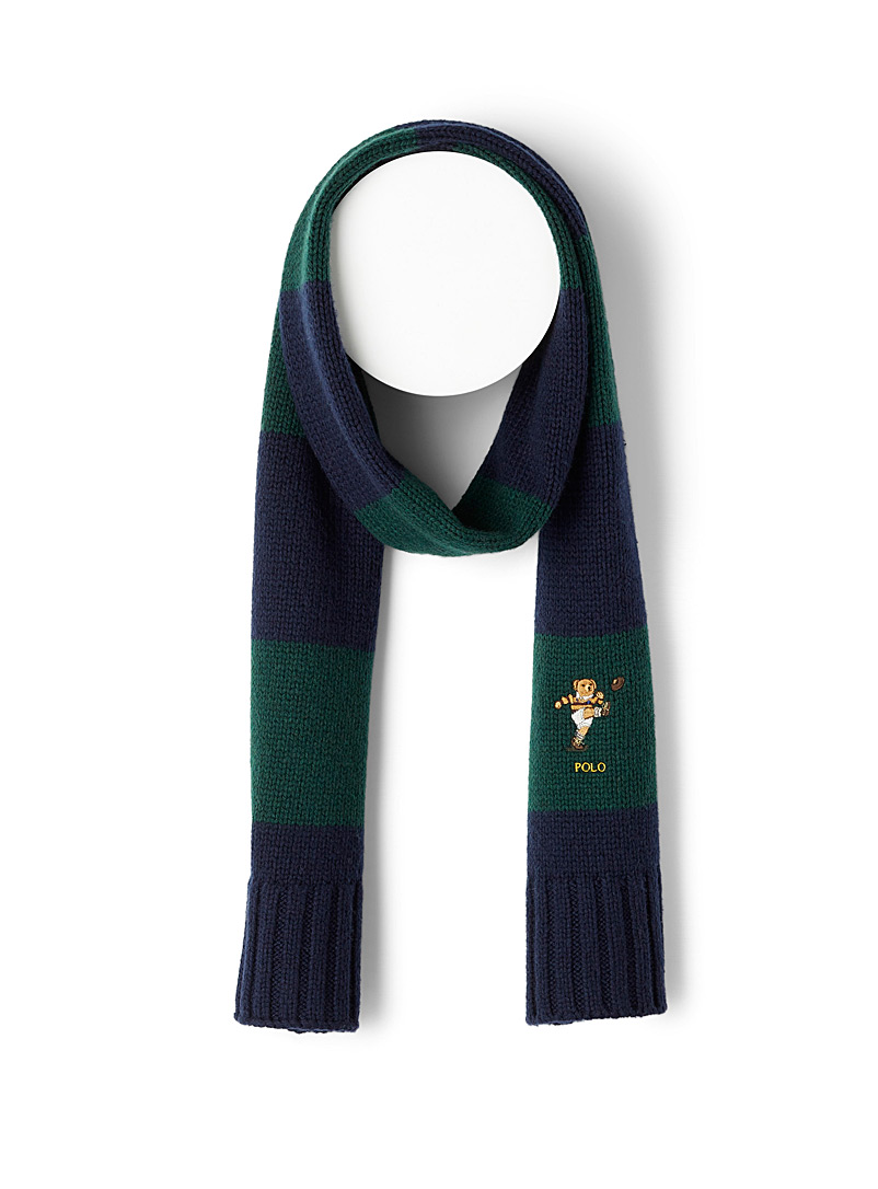 Polo Ralph Lauren Patterned Green Rugby teddy bear striped scarf for men