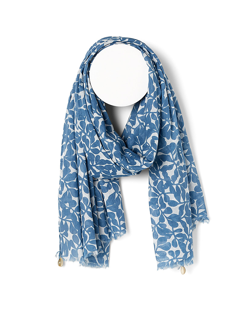 Echo Design Patterned Blue Seashell and foliage scarf for women