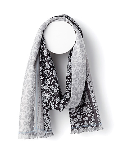 Two-tone floral scarf