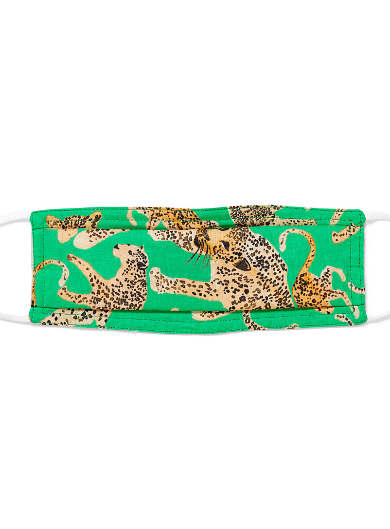 Echo Design Patterned Green Cheetah mask for women