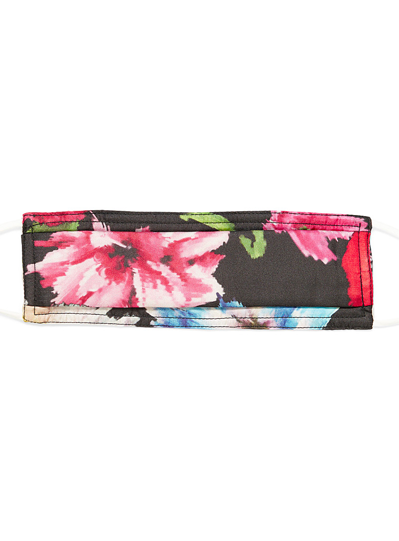 Echo Design Patterned Black Pure silk floral fabric mask for women