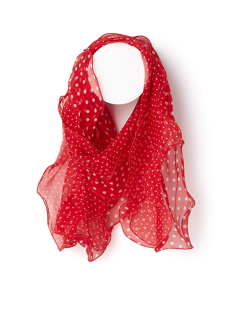 Twin-dot ruffle scarf - Light scarves - Patterned Red