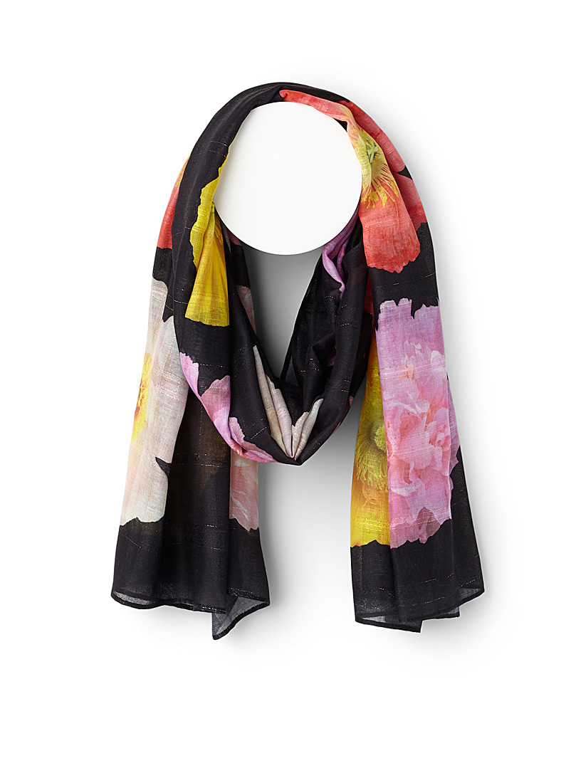 Illuminated flower scarf - Light scarves - Patterned Black