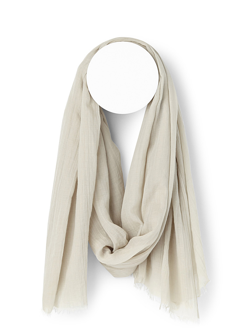 Finely fringed solid scarf - Light scarves - Cream Beige