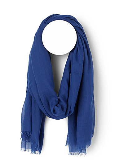 Echo Design Marine Blue Finely fringed solid scarf for women