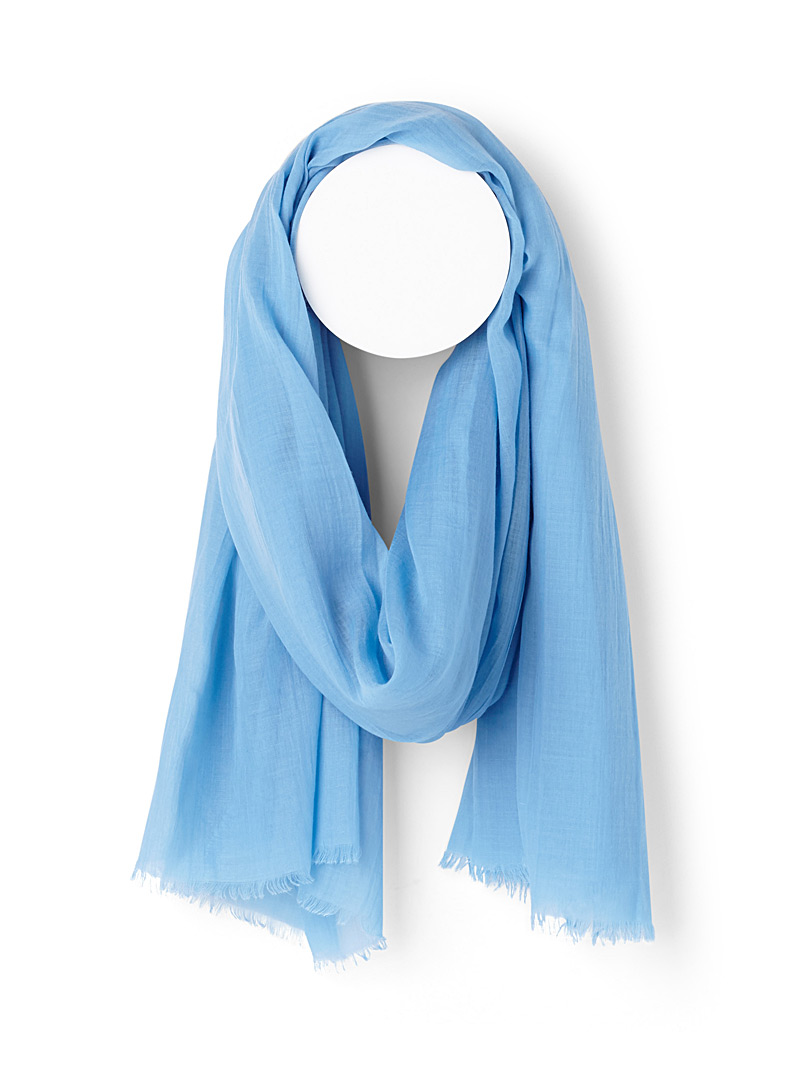 Finely fringed solid scarf - Light scarves - Baby Blue