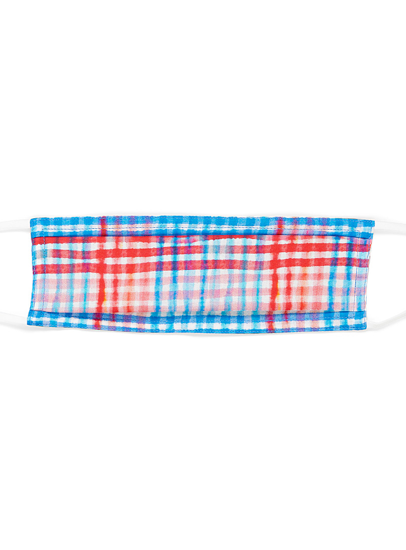 Echo Design Patterned Blue Picnic check fabric mask for women