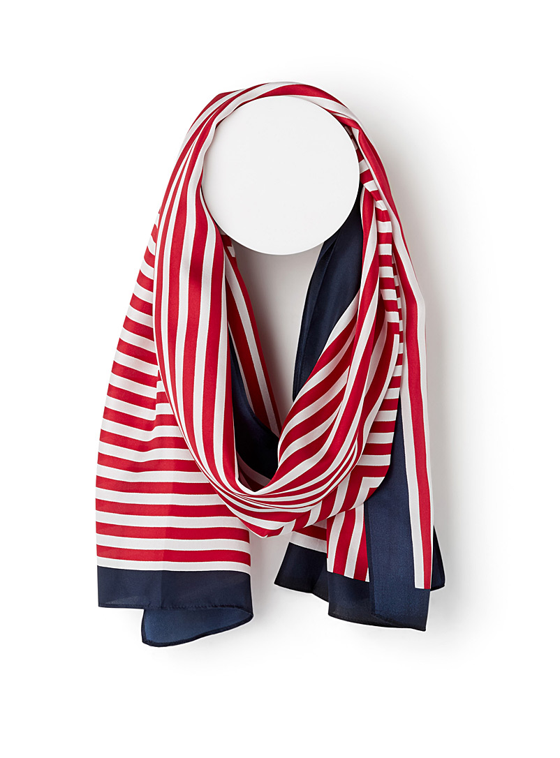 Twin-stripe scarf - Light scarves - Patterned Red