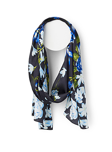 Echo Design Patterned Black Blue flowers scarf for women
