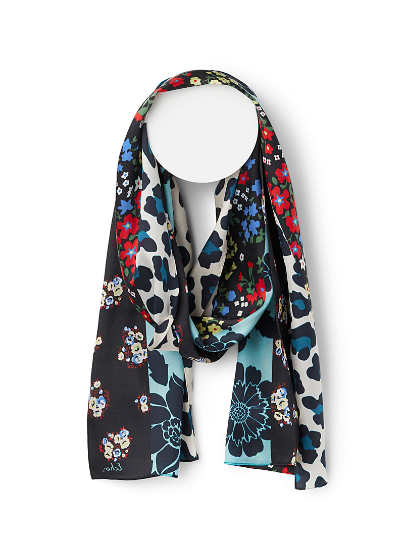 Echo Design Patterned Blue Flower and fur scarf for women