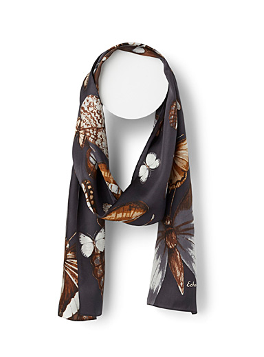 Simons Patterned Black Butterfly pure silk scarf for women