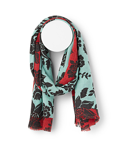 Echo Design Patterned Blue Greyscale floral scarf for women