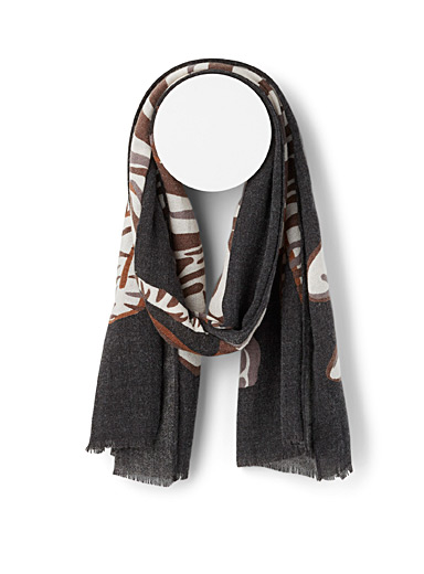 Echo Design Patterned Black Long zebra scarf for women