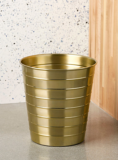 Brass stripes metallic wastebasket