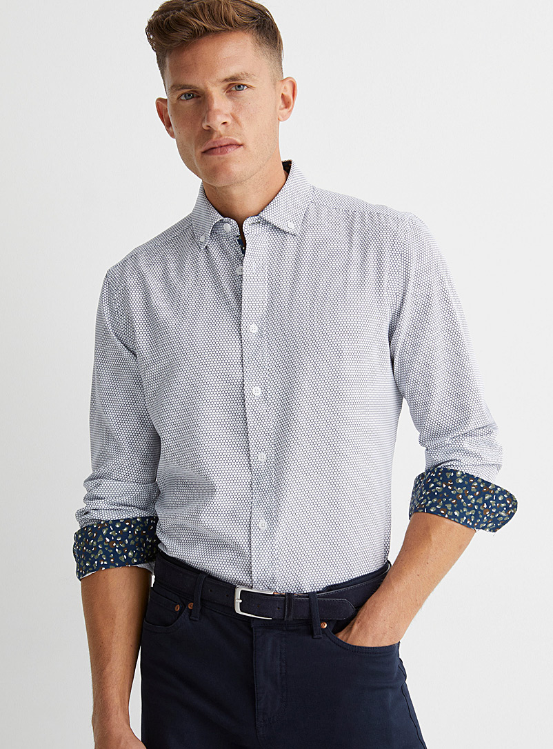Report Collection White Soft honeycomb shirt Comfort fit for men