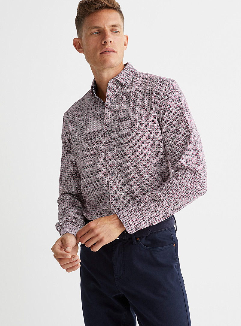 Report Collection Red Soft geo-check shirt Comfort fit for men