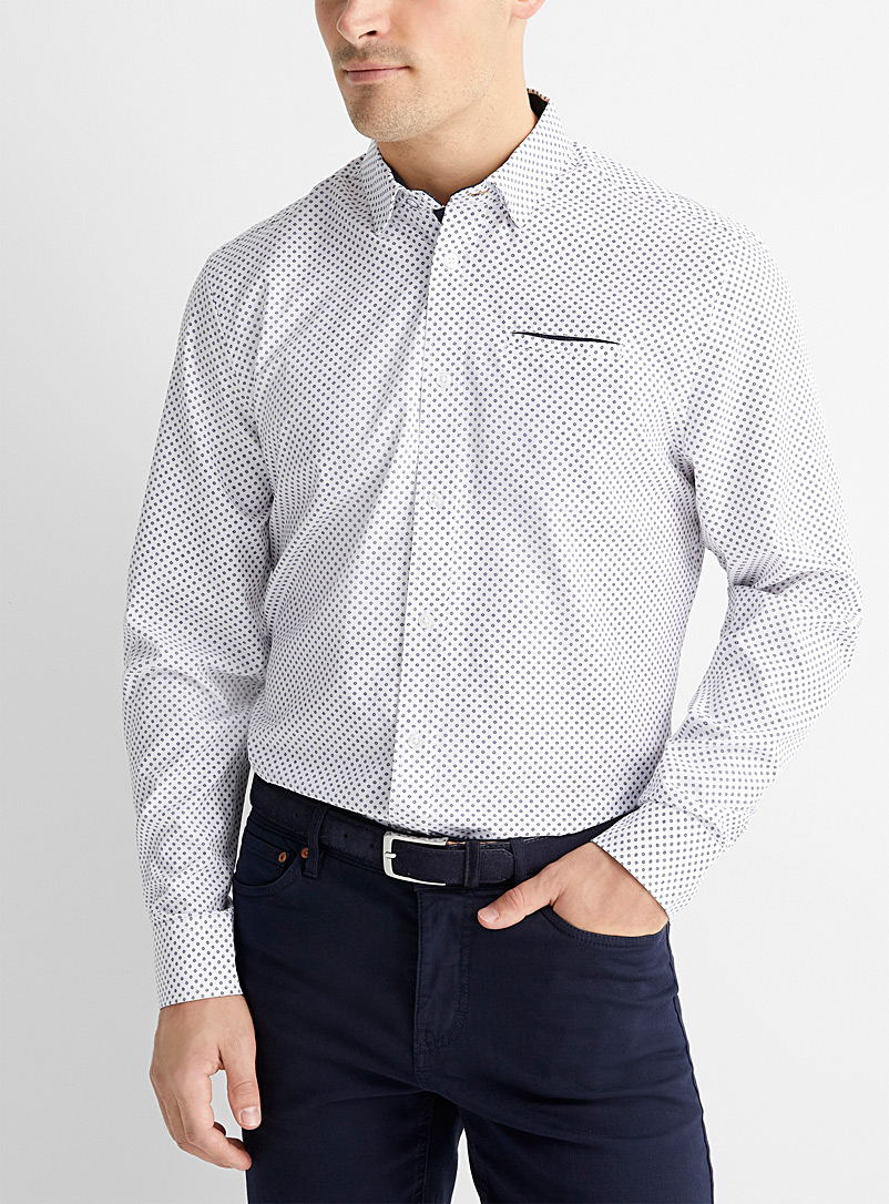 Report Collection White Indigo mosaic stretch shirt  Comfort fit for men