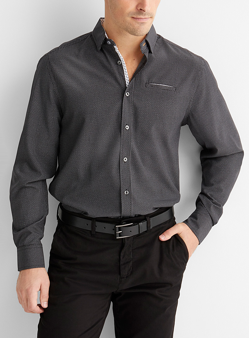 Le 31 Black Repeat circle stretch shirt  Comfort fit for men