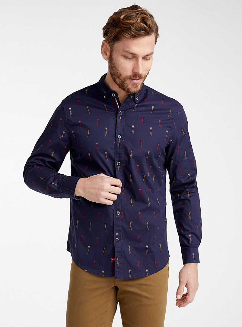 Après-ski shirt  Modern fit - Patterns - Marine Blue