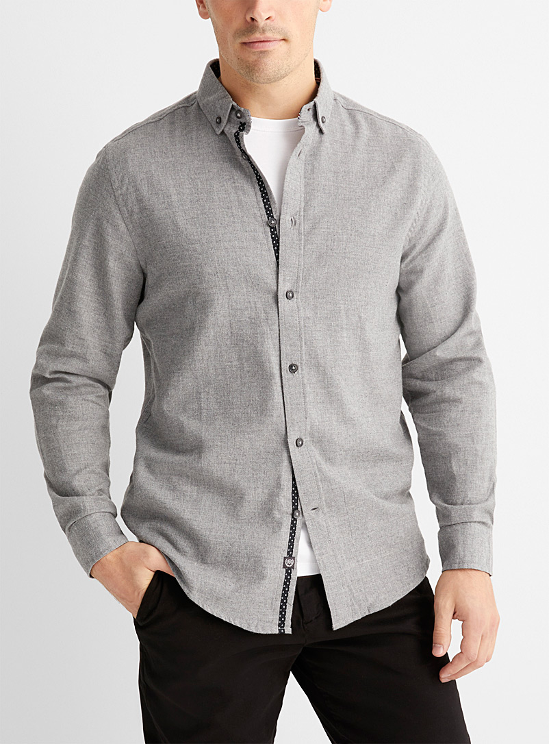 Report Collection Grey Chambray flannel shirt  Comfort fit for men