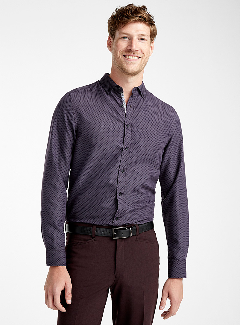 Aubergine geometry shirt  Regular fit - Patterns - Ruby Red