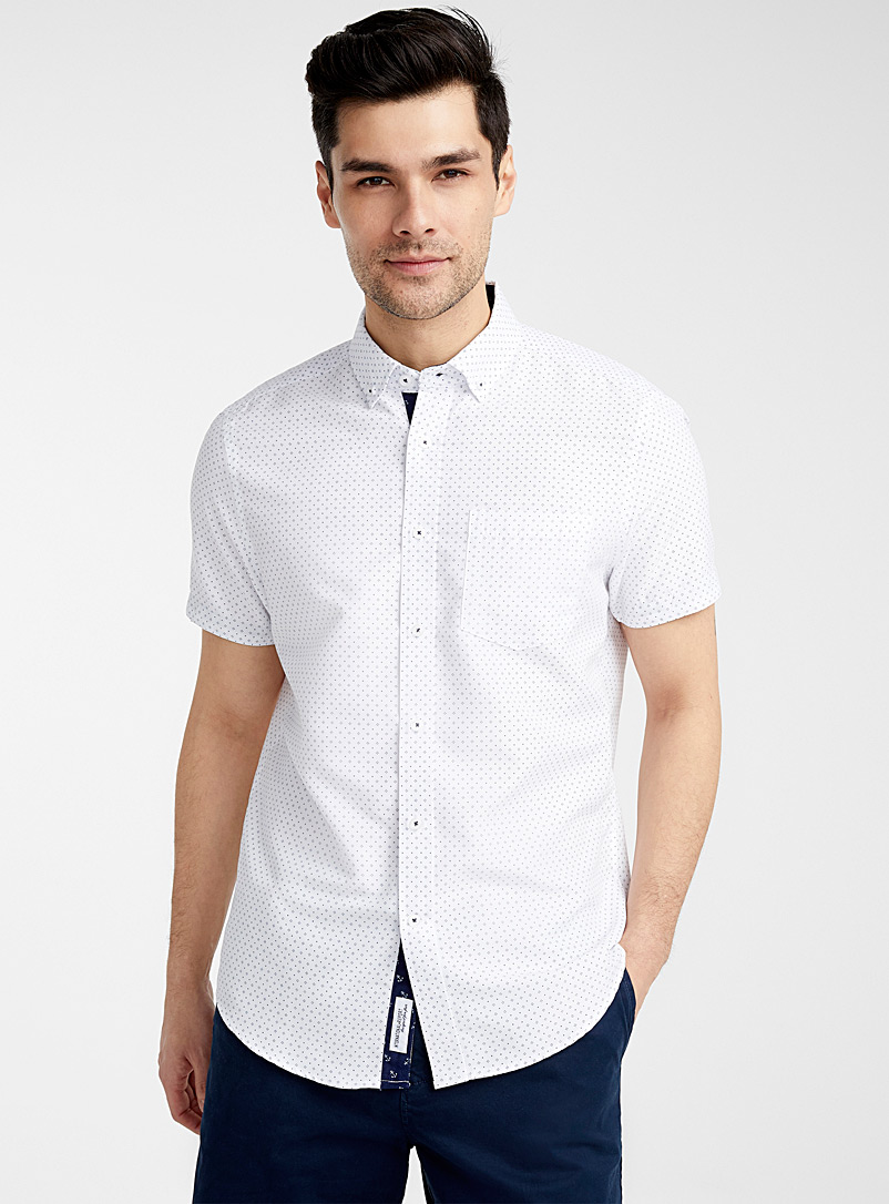 Report Collection Patterned White Dotwork mini pattern shirt  Comfort fit   for men