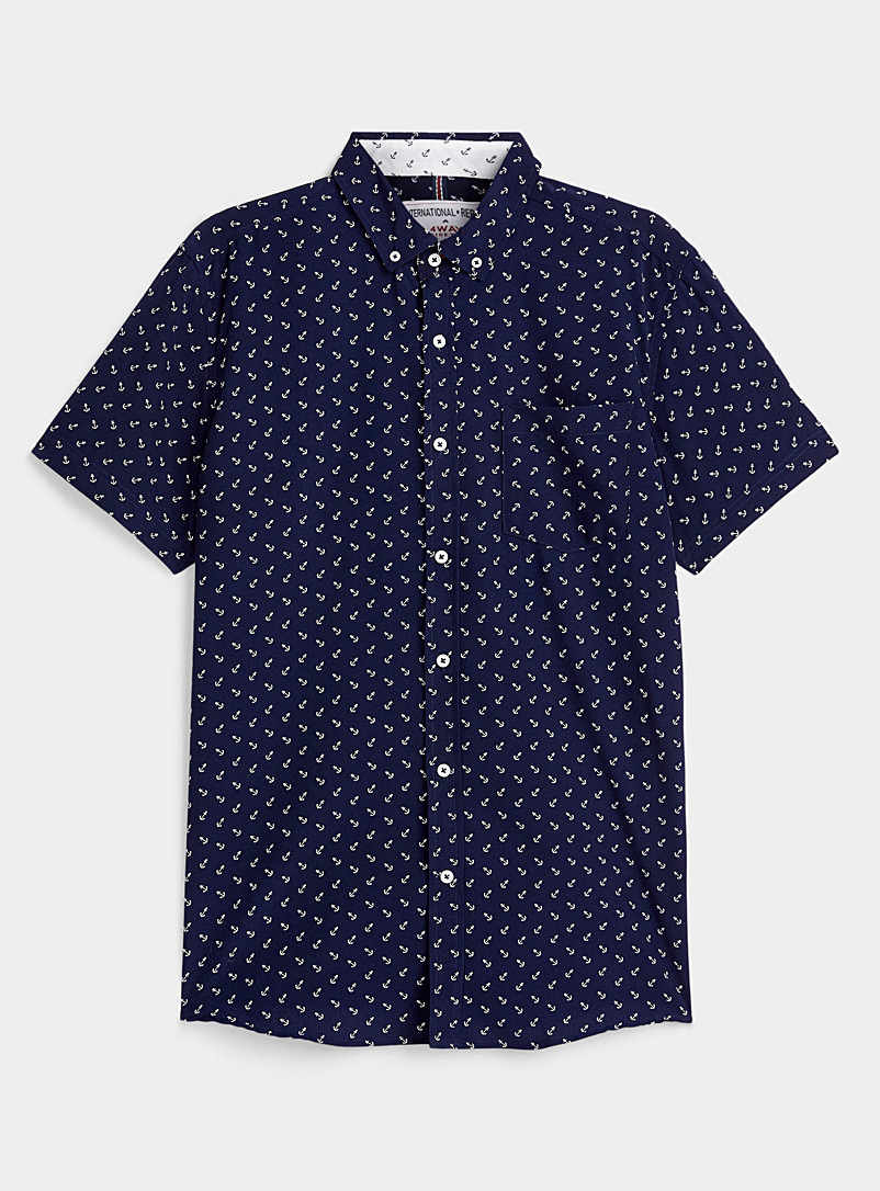 Report Collection Marine Blue Mosaic anchor shirt for men